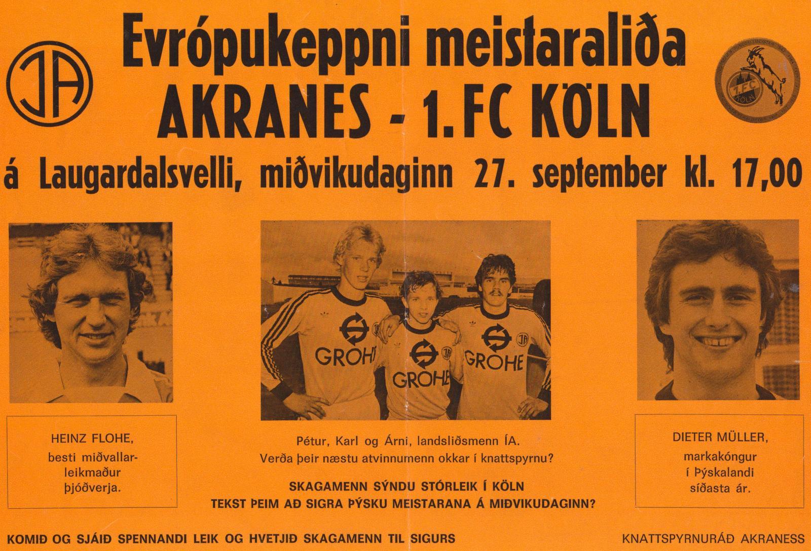 1978 Auglýsing fyrir Köln leikinn